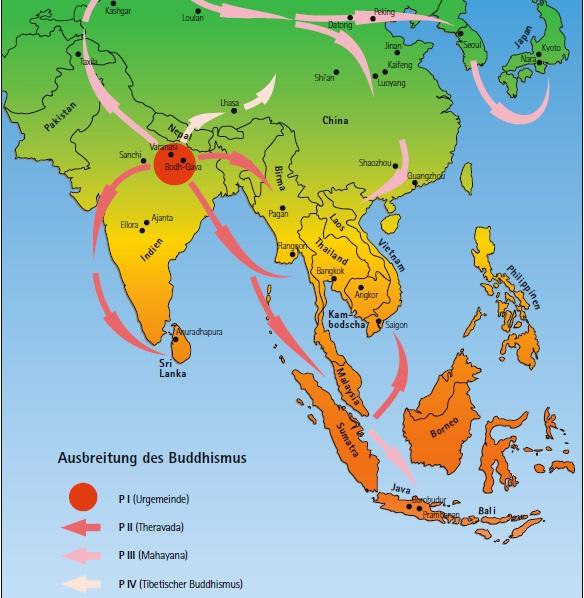 Die buddhistischen Wege: Theravada, Mahayana und Vajrayana